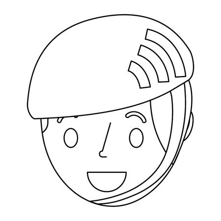little young boy wearing sport helmet vector illustration outline
