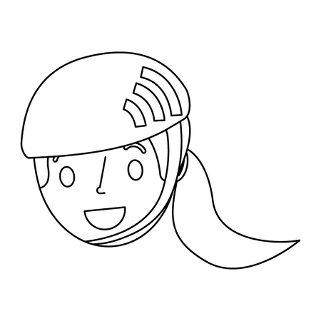 cute young girl child with sport helmet vector illustration outline