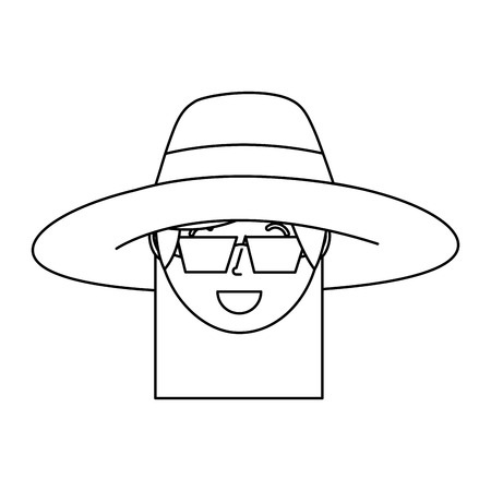 happy face woman wearing hat and sunglasses vector illustration outline