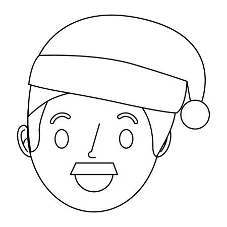 cartoon man adult wearing christmas hat vector illustration outline