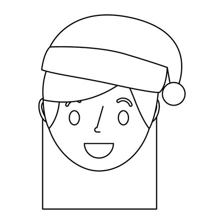little girl smiling wearing christmas hat vector illustration outline