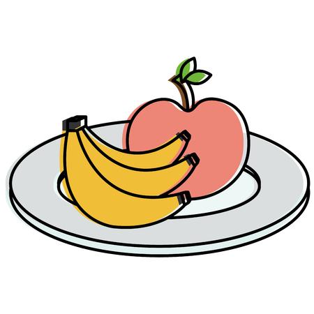 dish with apple and banana vector illustration design Çizim