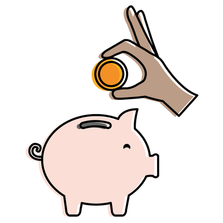Piggy savings with coins vector illustration design