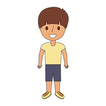 Young little boy male character standing vector illustration Çizim