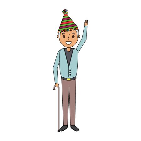 Hombre mayor con sombrero de fiesta agitando ilustración de vector de mano Foto de archivo - 91230874
