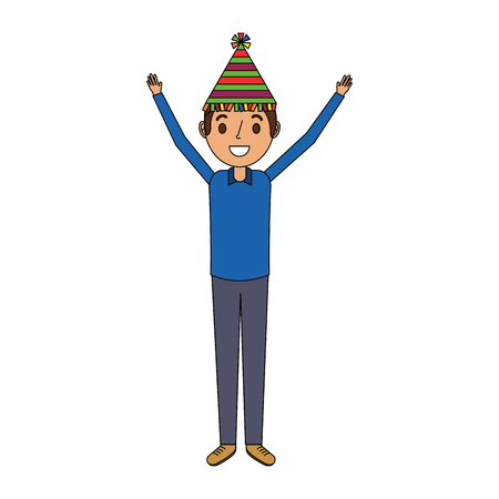Happy man wearing party hat with arms up vector illustration Illustration