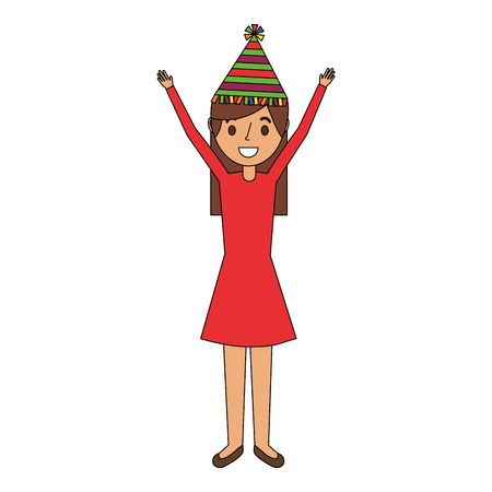 Portrait woman happy with party hat and arms up vector illustration Ilustração