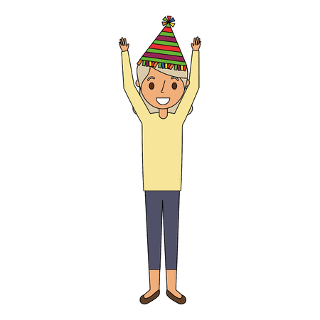 Elderly woman grandma with party hat and arms up vector illustration Illustration