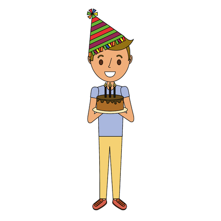 Young boy holding birthday cake with candles vector illustration