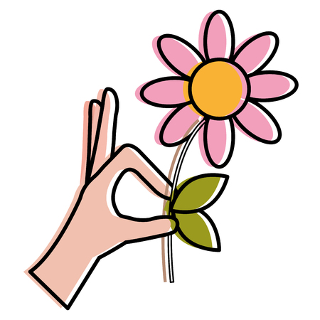 Hand with beautiful flower vector illustration design