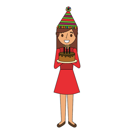 Woman with party hat holding birthday cake vector illustration Illustration