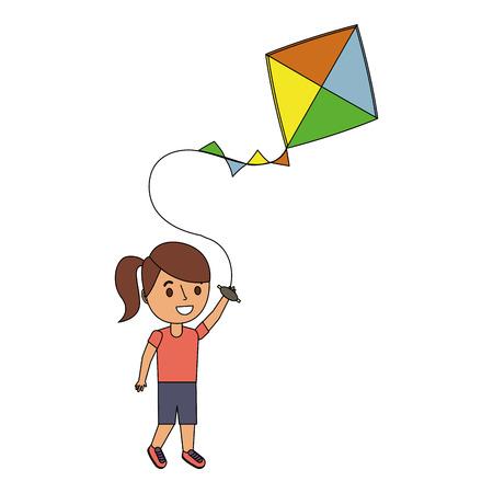 陽気なベクトルイラストを再生する凧を保持する子供  イラスト・ベクター素材