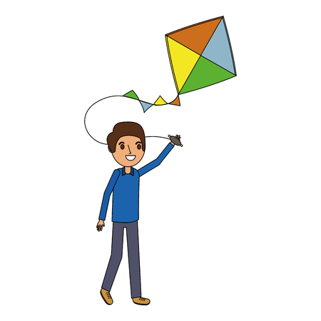 man holding kite funny happy image vector illustration Vectores