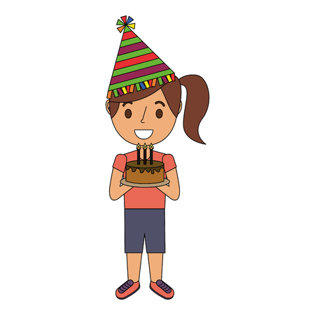 young girl with party hat holding birthday cake vector illustration Illustration
