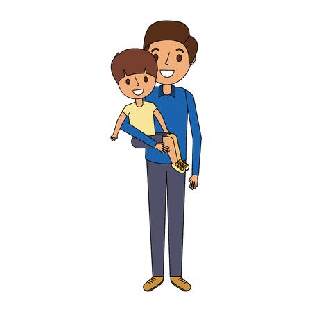 Père tenant son fils enfant souriant illustration vectorielle Banque d'images - 91236495