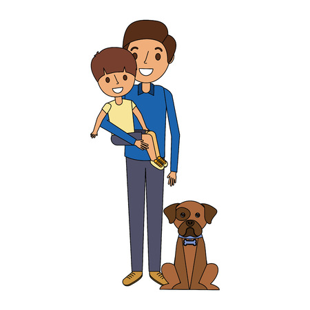 father holding son with dog vector illustration