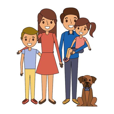 familie samen ouders met dochter zoon en hond vector illustratie