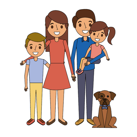 family together parents with daughter son and dog vector illustration Illustration