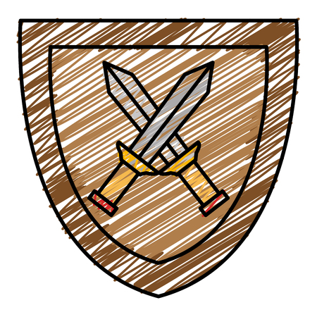 Shield with warrior sword vector illustration design