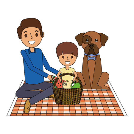 Dad and son their dog sitting on picnic blanket with basket dinner vector illustration