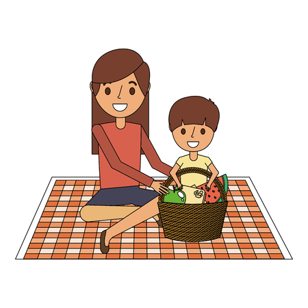 Mom with her son sitting on blanket with food basket vector illustration