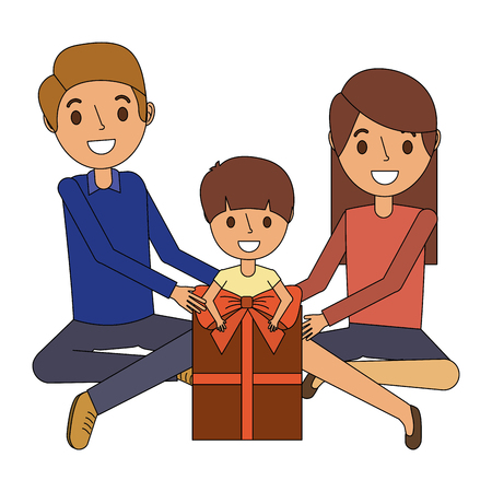 Family parents and son with big gift box vector illustration
