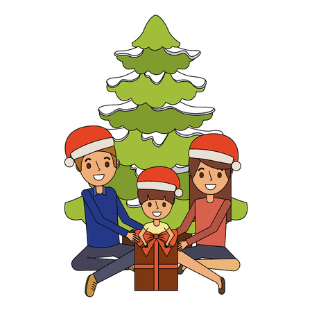 Happy familiy the parents and child with christmas tree and gift vector illustration Illustration