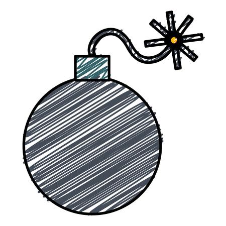 Het explosieve ontwerp van de bom geïsoleerde pictogram vectorillustratie