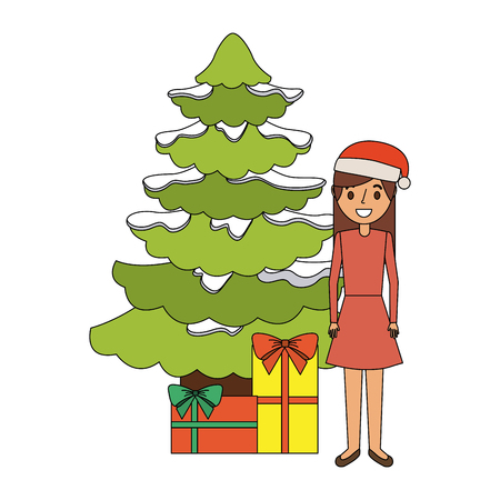 Mom standing beside the christmas tree and gift boxes vector illustration Illustration