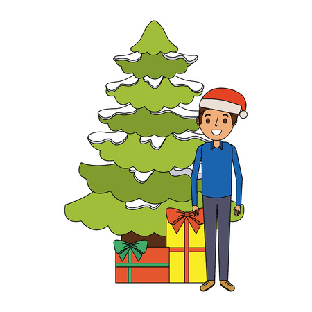 Dad standing with the christmas tree and gift boxes vector illustration