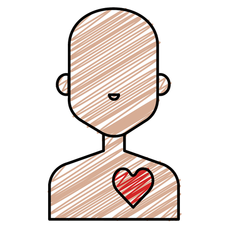 Human figure with heart vector illustration design