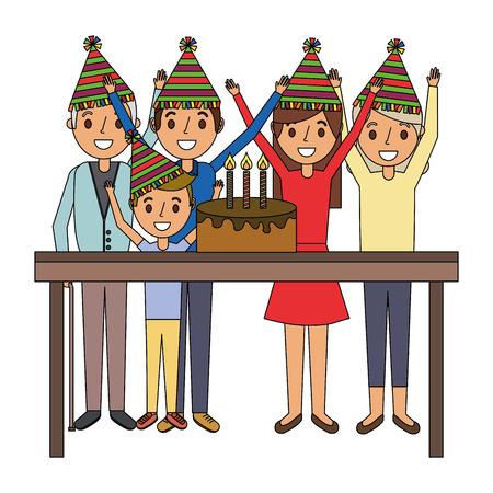 happy family with birthday cake celebration vector illustration