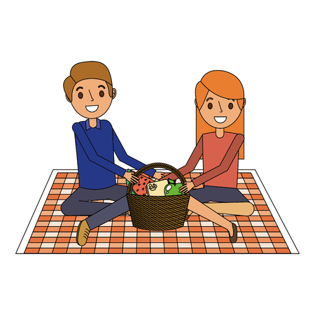 couple parents sitting on blanket picnic and food basket vector illustration