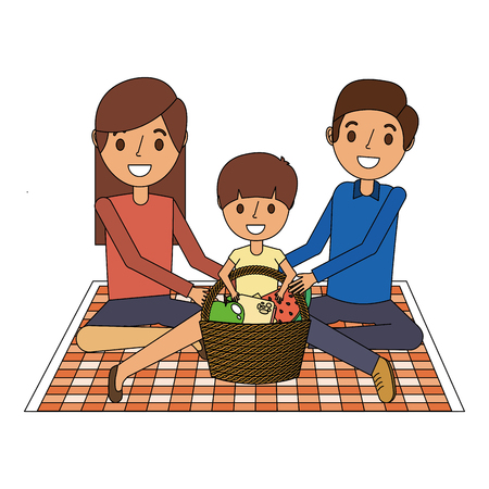 family sitting on blanket picnic with meal basket vector illustration Illustration