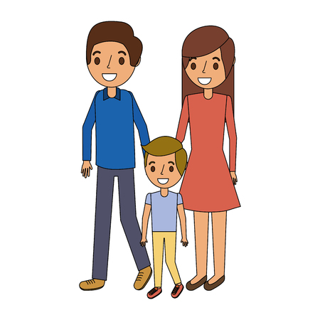 family father mother and son together standing vector illustration Illustration