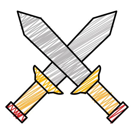 warrior swords isolated icon vector illustration design