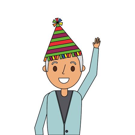 パーティー帽子手を振るベクトルイラストを持つ肖像画年配の男  イラスト・ベクター素材