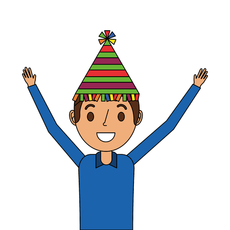 portrait happy man wearing party hat with arms up vector illustration Çizim