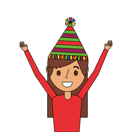 portrait woman happy with party hat and arms up vector illustration