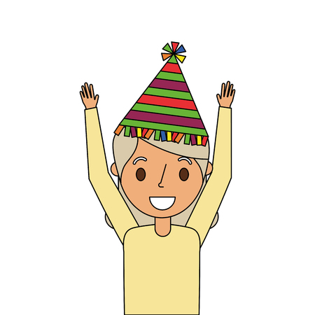 portrait elderly grandma with party hat and arms up vector illustration Illustration