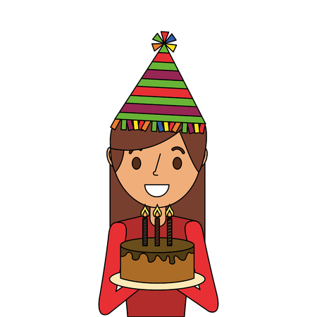 A happy woman holding birthday cake wearing party hat vector illustration Ilustrace