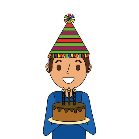 A happy man holding birthday cake wearing party hat vector illustration Illustration