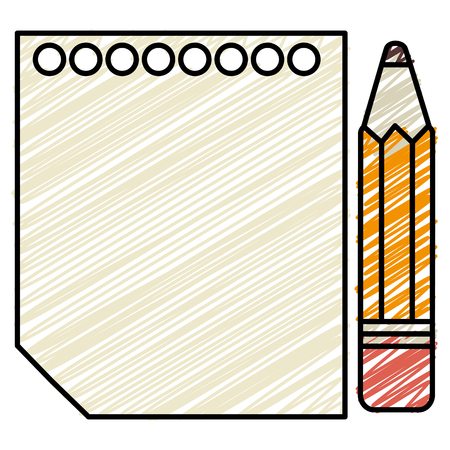 A sheet of notebook with pencil icon vector illustration design