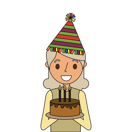 Elderly woman grandmother holding birthday cake vector illustration