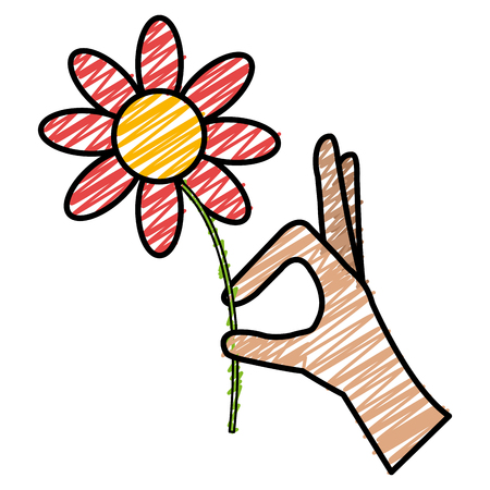 A hand with beautiful flower vector illustration design