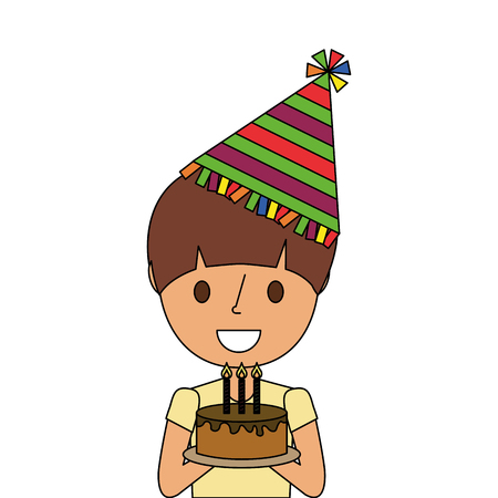 A cute young boy holding birthday cake wearing party hat vector illustration