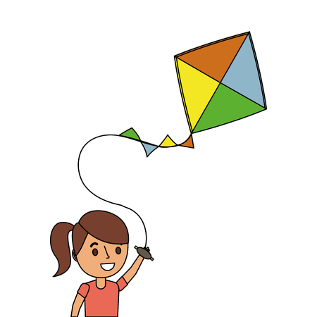happy girl with kite cheerful playing vector illustration