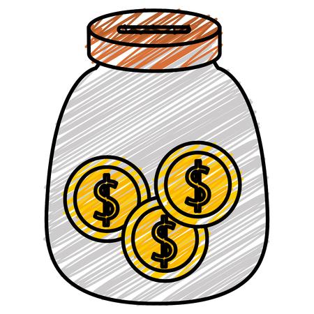동전 돈 벡터 일러스트 디자인과 유리 항아리