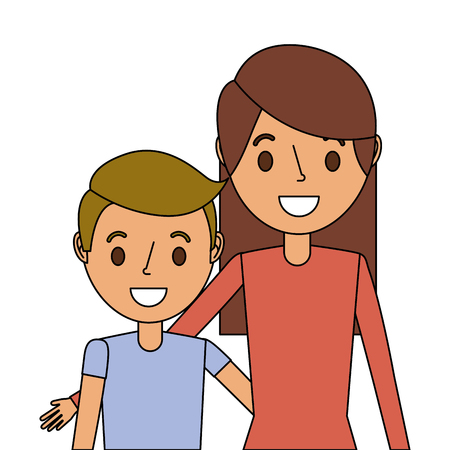 Portrait mom embracing her son vector illustration Illustration