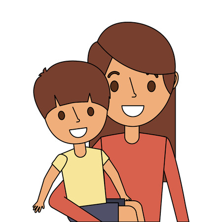 Portrait mother carrying her little son vector illustration